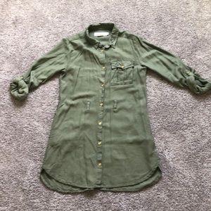 🌵Girls camo green shirt dress